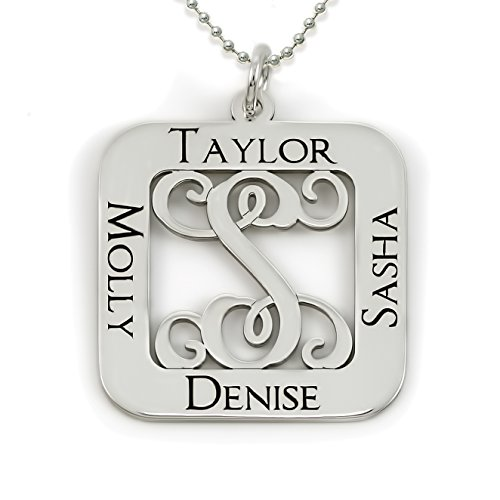 Square Cut Sterling Silver Script Initial and Name Pendant Necklace. Personalized Center Monogram and Names. Choice of Chains. Sterling Silver, 14k Gold Plate or Rose Gold Plate over Sterling Silver