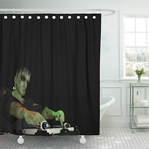 Emvency Shower Curtain 72 x 72 inches Frankenstein's Monster is in The House and Mixing Up Some Halloween Horror Set with Hooks Decorative Waterproof Polyester Fabric Bathroom Shower Curtains