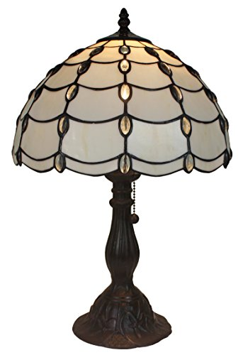 Amora Lighting Tiffany Style AM052TL12 Cascade Table Lamp, - Stained Glass Jeweled Rose