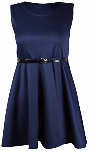 Purple Hanger - Robe Femme Sans Manche Uni Ajustée Ceinturée Evasée Grande Taille - EU 44/46, Bleu Marine