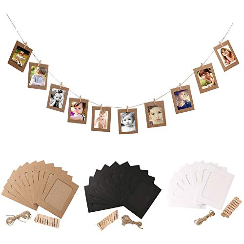 Amazon.com - Chitop Cadre Photo Frame with Clips and Rope - 3/4/5/6/7 Inch Wall Hanging Banner - Photo Frame DIY Picture Album Home Wedding Decoration ...