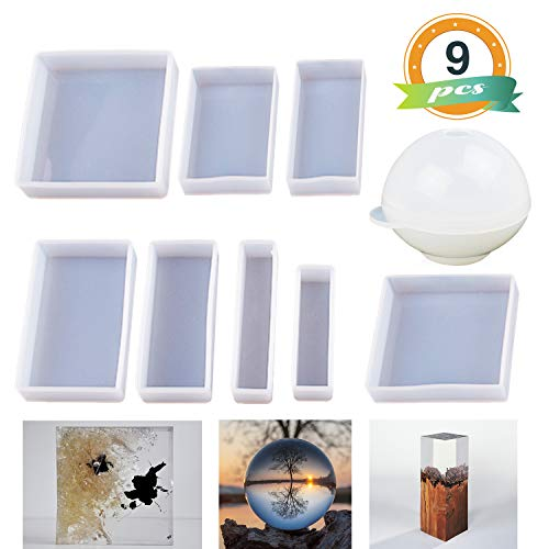 Epoxy Resin Molds LET'S RESIN Resin Casting Molds Silicone Square Ball Molds 9PCS Different Sizes, Silicone Resin Mold for Resin Jewelry, Soap, Dried Flower Leaf, Insect Specimen DIY Fans