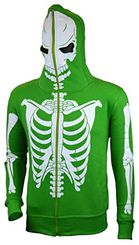 Men Full Face Mask Skeleton Skull Hoodie Sweatshirt Halloween Costume Green L -