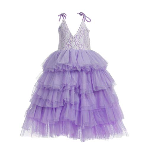 Flower Girl Strap Lace Tiered Tutu Tulle Party Dress Girls Maxi Dresses (Laveder Purple, 7T)