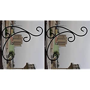 Nutech Impex Wrought and Cast Iron Leaf Design L Wall Bracket (Set of 2) (27x27x03cm, Black)