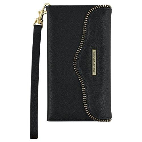 Rebecca Minkoff Wristlet, M.A.B. Tech Wristlet Case [Protective] Designer Wristlet fits Apple iPhone 7 Plus - Black Leather