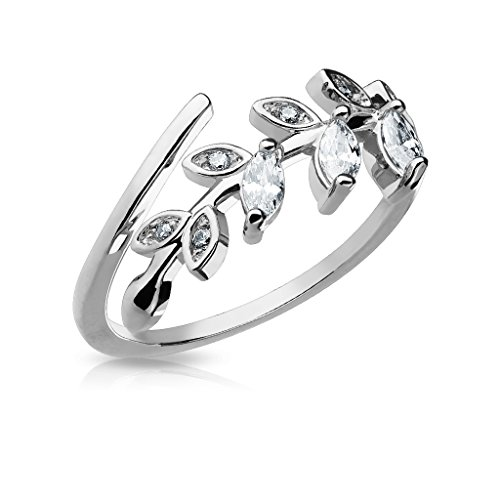 Rhodium Plated Brass Ring - FifthCue Marquise Cut CZ Set Leaf Adjustable Rhodium Plated Brass Finger Mid-Ring or Toe Ring (Steel)