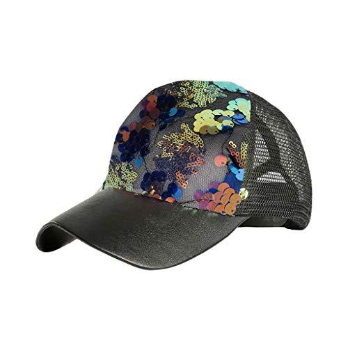 (Giulot Unisex Womens Ponytail Messy High Buns Mesh Trucker Ponycaps Plain Baseball Cap Dad Hat Trucker Visor Cap Blue)