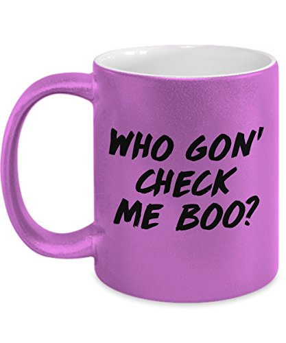 WHO GON CHECK ME BOO? Real Housewives of Atlanta quote travel mug, mugs, Funny, RHOA, RHONY, RHOOC, RHOBH, Bravo, Sheree Whitfield, NeNe Leakes