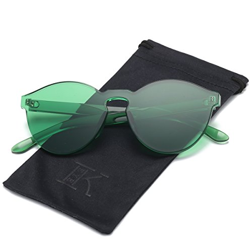 LKEYE-Fashion Party Rimless Sunglasses Transparent Candy Color Eyewear LK1737 Green Frame