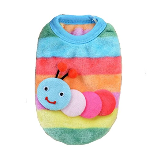 2017 Hot Pet Vest! AMA(TM) Pet Puppy Small Dog Clothes Chihuahua Coral Fleece Warm Vest Shirt Doggy Jacket Coat Apparel Costume Rainbow (S, (Doggy Clothing)