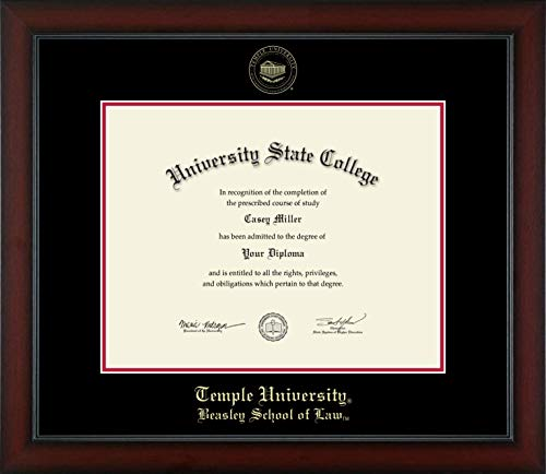 Temple University Law School - Officially Licensed - Gold Embossed Law Diploma Frame - Diploma Size 14