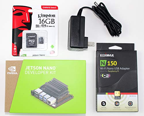 NVIDIA Jetson Nano Starter Kit with Jetson Nano Developer kit, 16GB UHS-1 microSD Card with Jetson Nano Developer kit Image, 5V 4A DC Power Supply, Edimax USB WiFi for DeepLearning AI Development