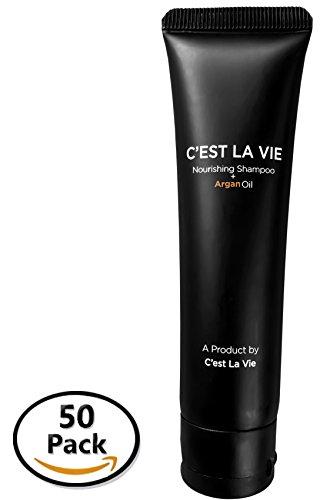 50 Bulk Pack - Nourishing Shampoo + Argan Oil By CEST LA VIE - 40ml / 1.35 fl oz - Travel Guest & Hotel Amenities - Individual Tubes in Eco Responsible Packaging. Paraben & Cruelty Free (Black)