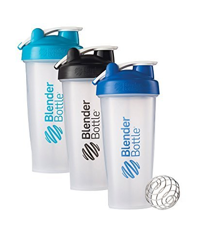 28 Oz. Hook Style Blender Bottle W/ Shaker Bundle-Clear Aqua/Black/Blue