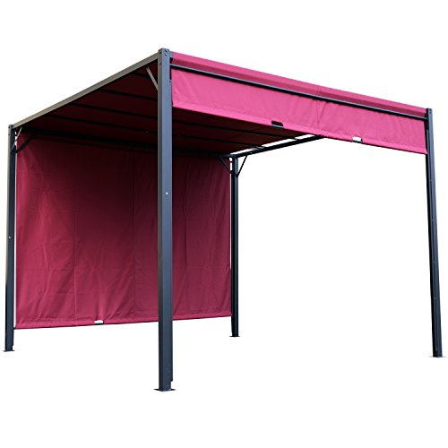 Outsunny 10#039 x 10#039 Steel Pergola Retractable Water Resistant Canopy Wine Red