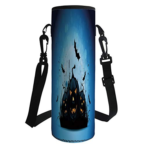 Water Bottle Sleeve Neoprene Bottle Cover,Halloween,Scary Pumpkins in Grass with Bats Full Moon Traditional Composition Decorative,Black Yellow Sky Blue,Fit for Most of Water Bottles