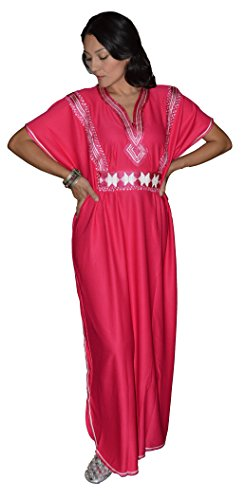 Moroccan-Caftans-Women-Handmade-with-Embroidery-Long-Length-One-Magenta