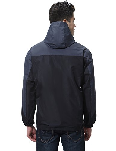 Aibrou Chaqueta Hombre/Mujer Impermeable Capucha de 100% poliéster diseño Espectacular Negro