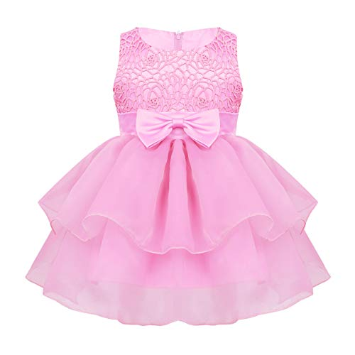 MSemis Baby Girls Embroidered Flower Dresses Christening Baptism Party Formal Dress Pink Organza 12-18 Months