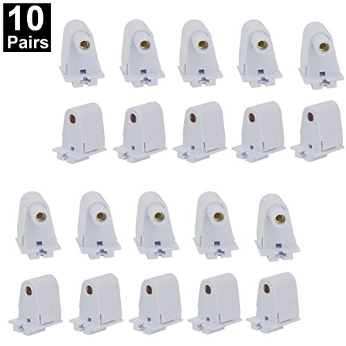 CNSUNWAY 10 Pairs T8/T10/T12 Single Pin Slimline FA8 Tombstone Base LED Tube Light Replacement Fluorescent Plunger Lampholder Socket White - Pin Fluorescent Socket