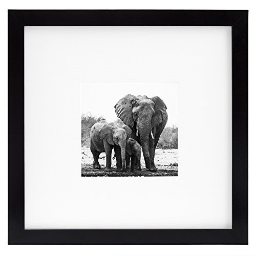 8x8 Black Picture Frame - Matted to Fit Pictures 4x4 Inches or 8x8 Without Mat - Made for Wall or Desktop Use