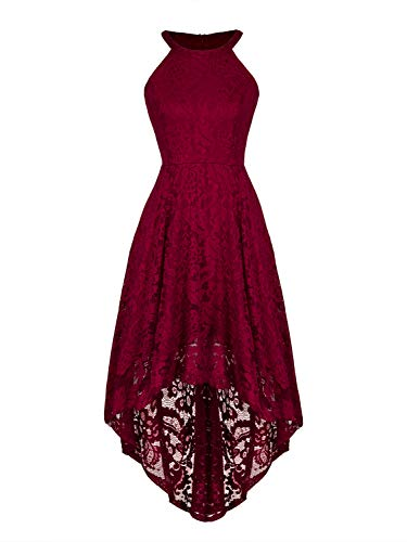 (CHOiES record your inspired fashion Women's Halter Hi-lo Lace Bridesmaid Dress Burgundy Floral Lace Cocktail Party Dress)