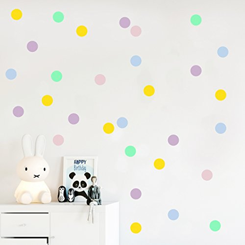 Pastel polka dot wall decals, Dots stickers, Confetti decor, Kids room decoration 45 pcs 2