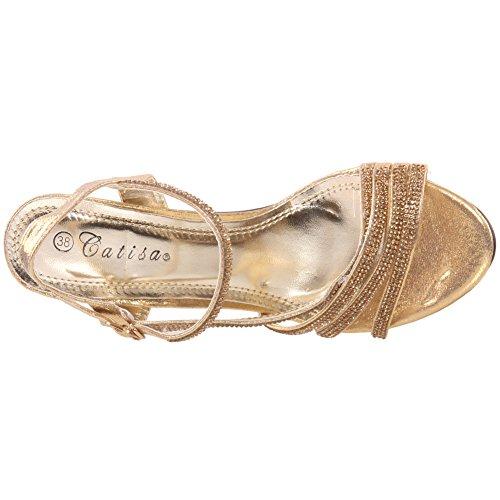 Unze Mujeres 'Glam-Slam' Damas de Fiesta de Boda Low Heel Open Toe Diamante zapatos nupciales de la sandalia Tamaño 3-8 Gold