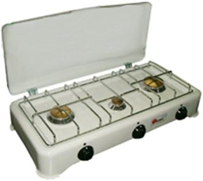 Hornillo Cocina 3 Fuegos de camping a gas GLP Tapa 59 x 28 cm ...