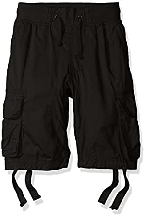 Southpole Boy's Basic Cotton Cargo Shorts, Black, Small