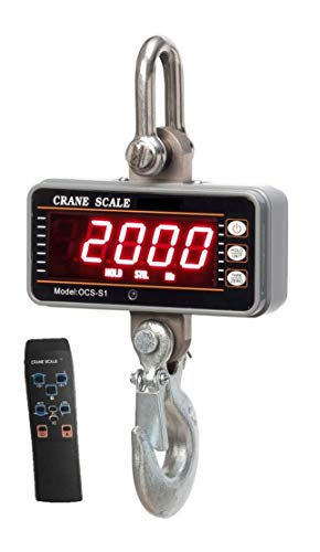 PoLLux Industrial Heavy Duty Hanging Scale 1000KG/ 2000LBS, High Precision Digital Crane Scale with Remote (Silver)