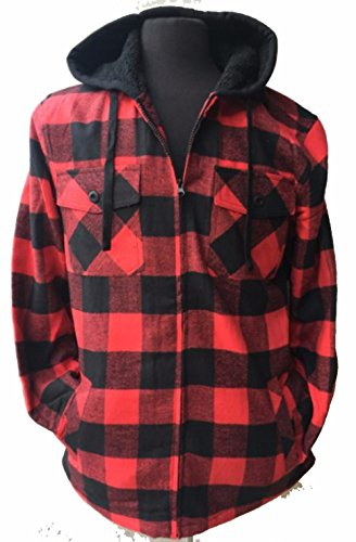22 Color/Styles Tall & Warm Men's Full Zip Hooded Flannel & Sherpa Lined Long Sleeve Soft Fabric Warm Hoodie Jacket