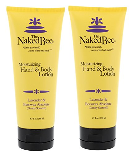 Naked Bee 6.7oz Lavender & Beeswax Absolute Hand and Body Lotion (2pk), Natural Personal Care Products