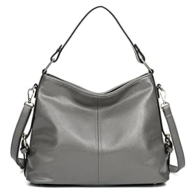 Women's Leather Hobo Handbag from Covelin, Durable Shoulder Bag Retro Purse Grey
