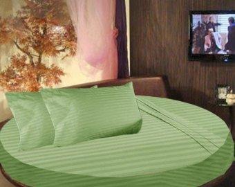 Buy Super Soft Stripe Sage 3PC Round Bed Sheet Set 100% Cotton - 84 ... 756e7c401ffc