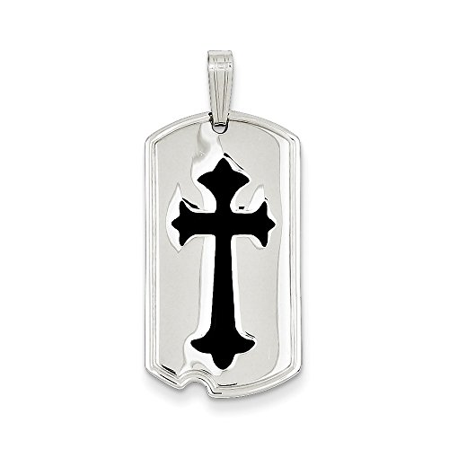 - Pendants Engravable Charms .925 Sterling Silver with Black Epoxy Cross Dog Tag Charm Pendant