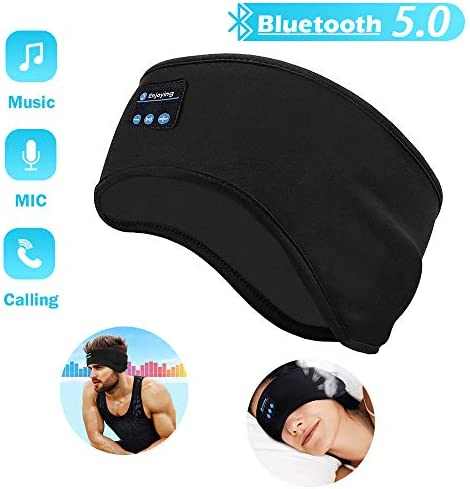 Sleep Headphones Bluetooth Headband, Soft Sleeping Bluetooth 5.0 Wireless Music Sport Headbands Eye Mask Long Time Play Sleeping Headsets with Built -in Speakers for Workout, Running, Yoga,Air Travel