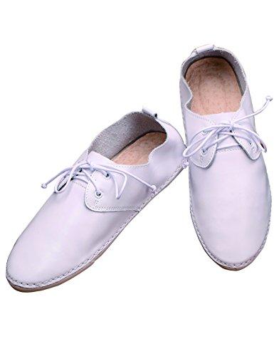 (のグレープフルーツ プラム)レディーズ ホワイト シューズ ローカット 本革 ファッション レースアップ カジュアル シューズ フラッツ カジュアルシューズ手作り靴