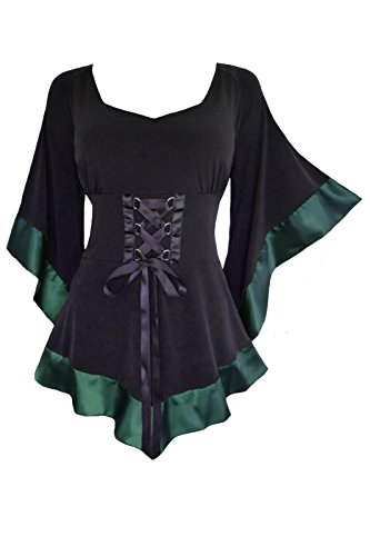 - Dare to Wear Victorian Gothic Boho Women's Plus Size Treasure Corset Top in Evergreen 2X
