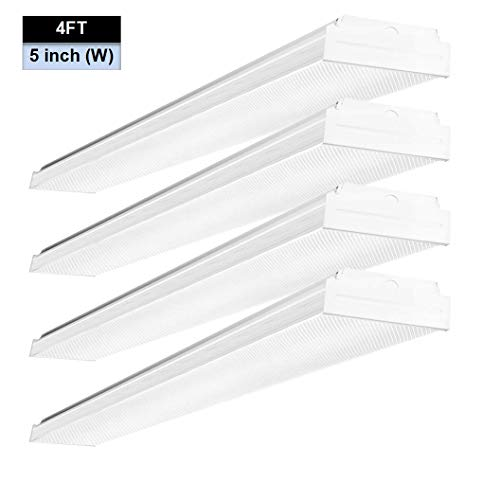 - AntLux 4ft LED Garage Workshop Lights LED Wraparound Light Fixture - 40W 4400LM - 4000K Neutral White - Integrated Low Profile Linear Flush Mount Ceiling Lighting, Prismatic Diffuser, No Glare, 4 Pack