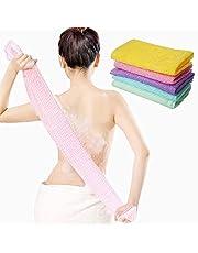 5 Pieces Beauty Skin Bath Wash Towel Long Exfoliating Nylon Bath Cloth Towel, Magic Shower Washcloth for Body, 35 inches (5 Colors)