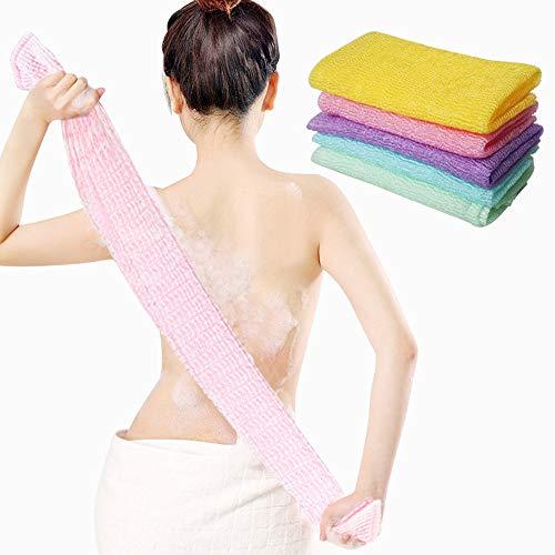 Aniann 5 Pieces Beauty Skin Bath Wash Towel Long Exfoliating Nylon Bath Cloth Towel, Magic Shower Washcloth for Body, 35 inches (5 Colors)