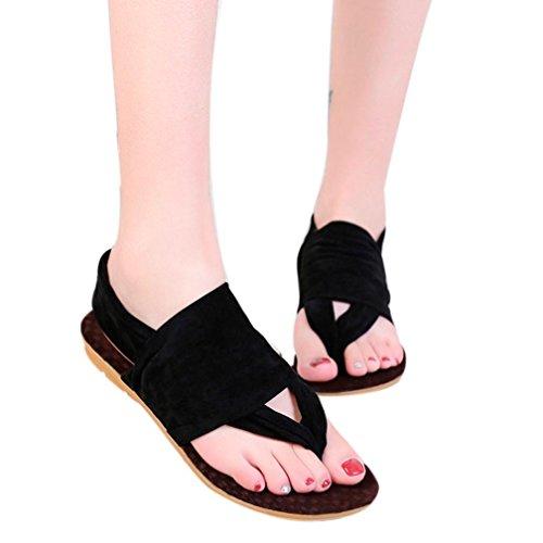 Caopixx Women Sandals, 2018 Bohemia Platform Shoes Woman Flats Footwear Shoes Beach Flip-Flop Shoes (Asia Size 36, Black)