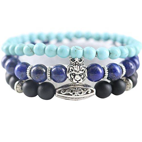 Lapis Gemstones Lion Head Men Bracelets Crown Oval-shaped Matte Onyx Turquoise Stone Beads Multi 3 Layers - Oval Men Shaped Head