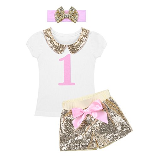dPois Infants Baby Girls' First 1st Birthday Short Sleeves Glittery Outfit T Shirt Sequined Shorts with Bowknot Headband Set White&Gold 12-24 Months (Sequined Peter Collar Pan)