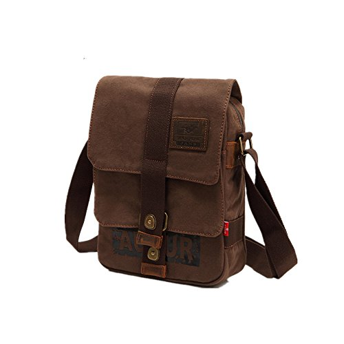 Brown Canvas Yiwuhu Outdoor Simple Bag Retro Zipper Color Classic Shoulder Messenger xIqUz6Irw