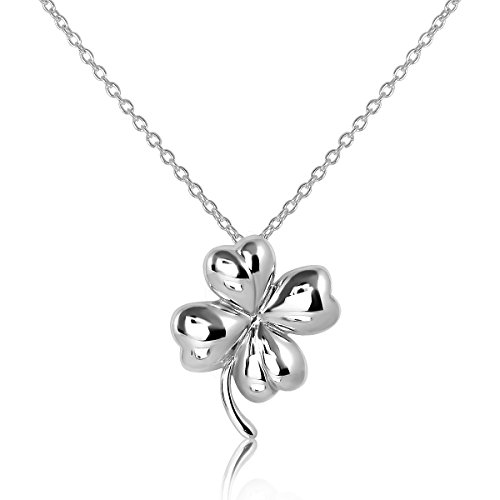(WithLoveSilver 925 Sterling Silver Charm Four Leaf Lucky Clover Good Luck Pendant, Necklace 18