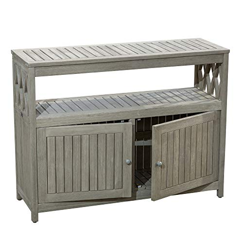 DTY Outdoor Living Longs Peak Eucalyptus Sideboard, Outdoor Living Patio Furniture Collection - Driftwood Gray