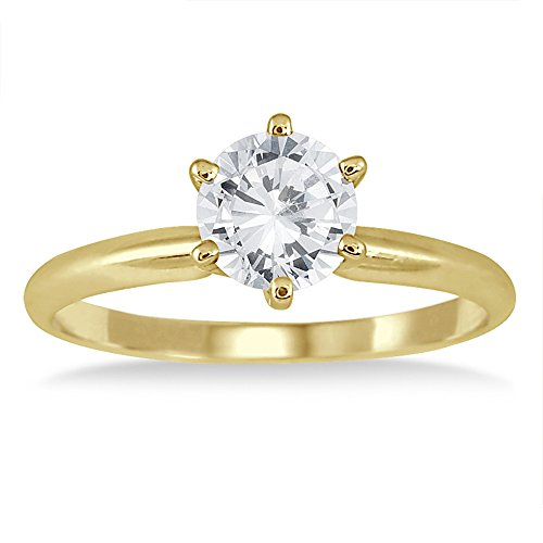 AGS Certified 1 Carat Diamond Solitaire Ring In 14K Yellow Gold (J-K Color, I2-I3 Clarity)